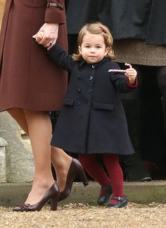 BUCKLEBURY, BERKSHIRE - DECEMBER 25:  Princess Charlotte of Cambridge attend Church on Christmas Day on December 25, 2016 in Bucklebury, Berkshire.  (Photo by Danny Martindale/WireImage) via @AOL_Lifestyle Read more: http://www.aol.com/article/lifestyle/2016/12/25/kate-middleton-prince-william-and-family-attend-christmas-servi/21641812/?a_dgi=aolshare_pinterest#fullscreen