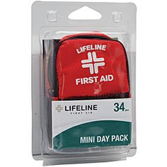 34 pc Lifeline Mini Day Pack $6.00  Includes: •One (1) premium mini backpack  •One (1) sting relief pad  •One (1) 2x2-inch sterile gauze pad  •Two (2) adhesive strips •Three (3) antiseptic towelettes  •Four (4) alcohol prep pads •22 regular bandages