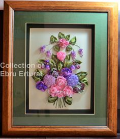 Framed Ribbon Flower Embroidery Bouquet Floral by RainbowJus