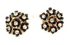 Sandor Black Enamel Rhinestone Earrings, Vintage by TheFashionDen on Etsy https://www.etsy.com/listing/246390867/sandor-black-enamel-rhinestone-earrings