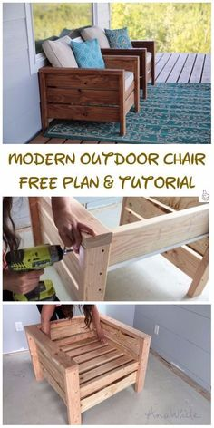 DIY Outdoor Seating Projects Tutorials - DIY Modern Outdoor Chair Tutorial #OutdoorChair