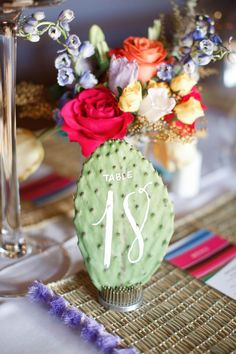 20 Beautiful Ways to Add a Pop of Green to Your Wedding green wedding ideas monique hessler cactus table number Mexican Wedding Centerpieces, Mexican Party Decorations, Quince Decorations, Quinceanera Centerpieces, Candy Centerpieces, Quinceanera Themes, Cactus Wedding, Diy Wedding, Wedding Reception