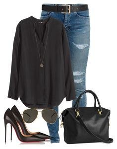 """""""Sem título #350"""" by cecebay ❤ liked on Polyvore featuring Yves Saint Laurent, Barneys New York, H&M, Christian Louboutin and Topshop"""