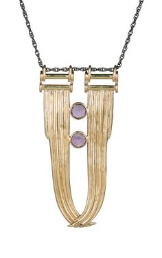 """Aesa gold plated brass, sterling silver and amethyst """"Dynah"""" necklace- coming soon to Elements!"""