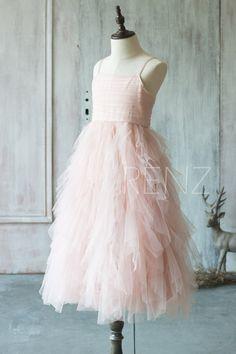 ba8c97b470d Junior Bridesmaid Dress Blush Pink Flower Girl Dress Ruffle Spaghetti Strap  Prom Dress Girl Cocktail Dress Maxi Dress Tutu Dress(JK012)-RENZ