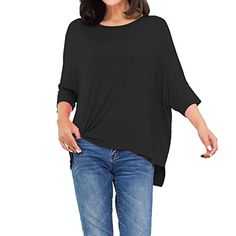 6cf9db39475 Lacle Womens Casual Round Neck Loose Fit Short Sleeve TShirt Blouse Tops  Black Large   To