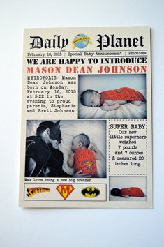 """Superhero Birth Announcement by stampandseal on Etsy  Might use as a """"meet the baby"""" invitation instead of doing a baby shower."""