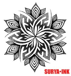 Tattoo design, swastika mandala SURYA INK