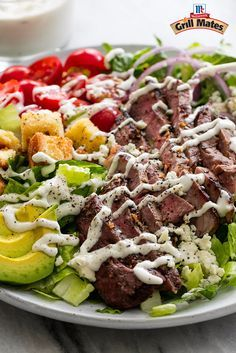 Montreal Steak seasoning brings bold flavor to this delicious grilled steak salad recipe. Top with a blue cheese dressing made with Greek yogurt for a new favorite summer salad. salad recipe Black N' Blue Grilled Steak Salad Grilled Steak Salad, Grilled Steak Recipes, Grilled Meat, Salad With Steak, Steak Salad Dressing, Steak Salad Recipe Blue Cheese, Flank Steak Salad, Grilled Steaks, Blue Cheese Salad