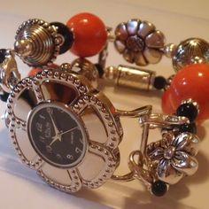 Orange, Black, Silver Beaded BraceletWatch Band | sassylu - Jewelry on ArtFire