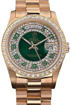 Replica Rolex Day-Date Mens Watch with Automatic Movement, Green Dial with Diamonds and Green Arabic Numerals, Yellow-Gold Plated Case with Crystal Bezel and Yellow-Gold Steel Bracelet