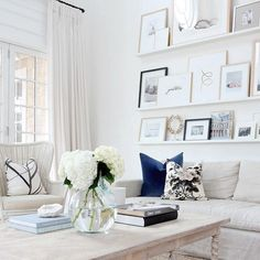 """mrandmrs2015: """"Shelfie upgrade, anyone?  Go beyond the trend to create a chic living space with this easy update to your current #gallerywall, the art shelf.  by @monikahibbs. Link in profile. by..."""