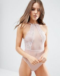 238ae46470b96 ASOS Thea High Neck Lace Pink Bodysuit