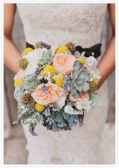 Peach, lavender, mint green and yellow floral bouquet