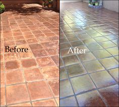 Before After Black Epoxy Coating On Saltillo Floors