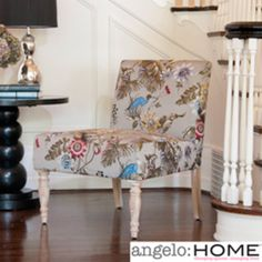 angelo:HOME Bradstreet Antique Floral Bird Armless Chair