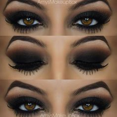 Seductive Black Smokey Eye for Brown Eyes: