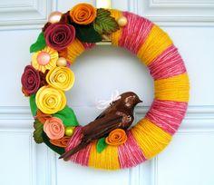https://flic.kr/p/7vXWWC   Mardi Gras Yarn Wreath   Agnes Blum 2010
