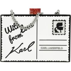 Karl Lagerfeld Evening Bag - Postcard Minaudière White - in red,... (£130) ❤ liked on Polyvore featuring bags, handbags, red purse, genuine leather handbags, leather hand bags, white handbags and leather handbags