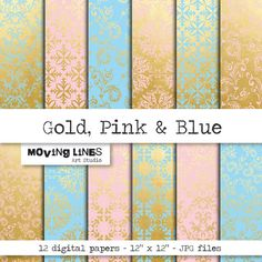 Digital Paper Gold Pink Blue Damask Wallpaper Web by MovingLines