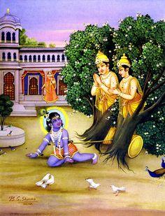 Krishna Liberates The Twin Arjuna Trees Baby Krishna, Krishna Birth, Krishna Lila, Little Krishna, Jai Shree Krishna, Krishna Radha, Hanuman, Krishna Drawing, Krishna Painting
