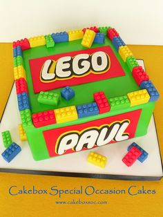 Lego cake idea.  Chance would so love this.  I still have his collection, he played for HOURS with his Legos :)