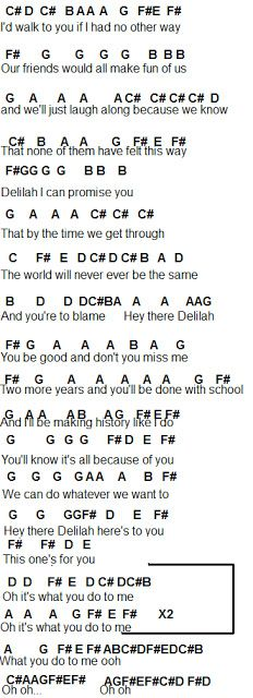 Oboe/Flute Sheet Music: Hey There Delilah Piano Sheet Music Letters, Clarinet Sheet Music, Easy Piano Sheet Music, Music Chords, Piano Music Notes, Music Sheets, Violin Music, Guitar Chords, Guitar Tabs Songs
