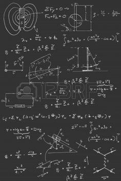 Physics diagrams and formulas chalk handwriting on blackboard Stock Photo