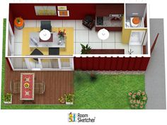 Create floor plans, home and office designs online with RoomSketcher Home Designer. Draw a floor plan and see it in - It's that easy! Get started, risk-free. Home Office Design, House Design, Create Floor Plan, Easy Start, Sims Games, Shipping Container Homes, Can Design, Types Of Houses, Tiny Living