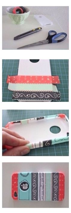 You can make your own phone case my using a plain phone case, ribbon, scissors, and glue.