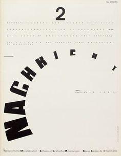 Typographische Monatsblätter – Cover issue 2 – 1973 – Design: Wolfgang Weingart – Typeface: Akzidenz Grotesk + Unidentified (Ruder Grotesk?) + Univers