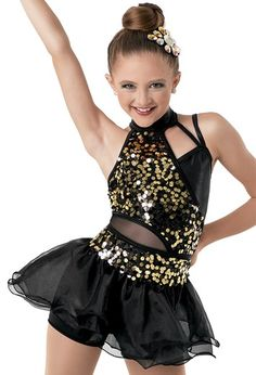 Be bold in this halter dress with a Bright Lights sequin spandex bodice that has asymmetrical insets made of premium metallic and mesh. The dress also features a tiered shimmering organza skirt and attached matte nylon/spandex shorts. Dance Recital Costumes, Girls Dance Costumes, Ballet Costumes, Dance Outfits, Dance Dresses, Cute Outfits, Pop Star Costumes, Tap Costumes, Cute Dresses For Party