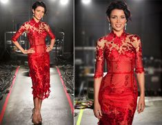 Danni Minogue in a red J'Aton Couture dress....GORGEOUS!