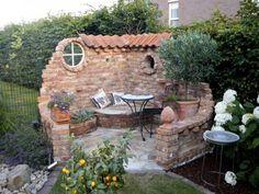 Make a water feature instead of seat - DIY Garten Landschaftsbau Outdoor Rooms, Outdoor Gardens, Outdoor Living, Outdoor Decor, Indoor Outdoor, Outdoor Projects, Garden Projects, Backyard Patio, Backyard Landscaping