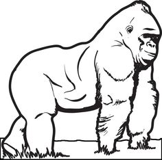 print on cardstock. fill in with black beans, etc to make ... - Silverback Gorilla Coloring Pages