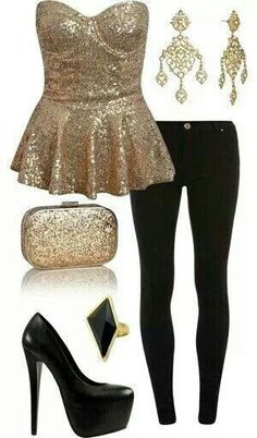 Want this gold sequin peplum for new years