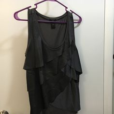 Gray Tiered ruffle tank Gray Ann Taylor tiered ruffled tank. Only worn once. Ann Taylor Tops Tank Tops