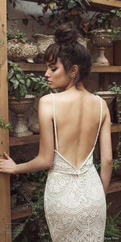 julie vino 2017 bridal spagetti strap sweetheart neckline full embellishment elegant romantic sheath wedding dress open low back short train (1254) zbv