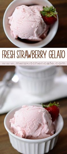 This Fresh Strawberry Gelato {i.e. Italian Ice Cream} is thick, creamy, lightly sweet and terribly decadent.