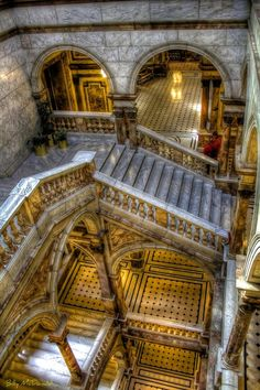 This is the main staircase in the City Chambers, Glasgow, Scotland.  I had the honour of a tour of this building by a city Baille (city councilor), who happens to be an uncle of mine.  C