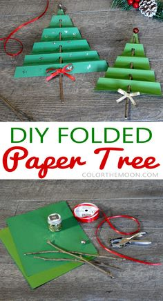 Folded Paper Tree: An Easy Christmas Craft for Kids! This folded paper tree is SO EASY to make! What a great Christmas craft for kids! Natural Christmas, Colorful Christmas Tree, Simple Christmas, Christmas Projects, Kids Christmas, Christmas Stuff, Christmas Crafts For Kids To Make, Christmas Activities, Diy Crafts For Kids