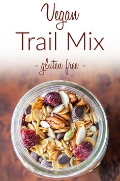 Trail Mix (vegan, gluten free) - This healthy trail mix is balanced with homemade granola, chocolate chips, nuts, seeds, and dried fruit. #trailmix #vegantrailmix
