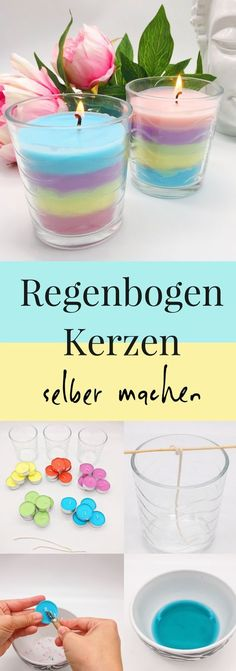 Regenbogen Kerzen selber machen – schöne Bastelideen DIY decoration ideas: make rainbow scented candles yourself. It's so easy to make candles yourself. Watering candles made easy, even a nice DI Diy Home Crafts, Diy Crafts To Sell, Crafts For Kids, Easy Crafts, Diy Candles, Scented Candles, Ideas Candles, Diy Rainbow Candles, Homemade Candles