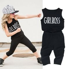 Nice 2PCS Toddler Kids Baby Girl Clothes SleevelessTank Top Vest+Capri leggings Trousers GIRL BOSS Outfit Clothing Set 2-7Y - $13.74 - Buy it Now!