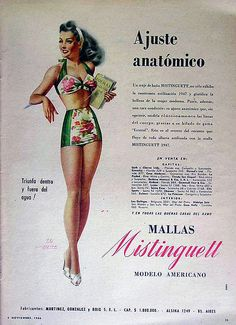 Mistinguett swimsuit 1946..love the floral pieces with the solid...make it a one piece 40s swim wear bikini floral green halter