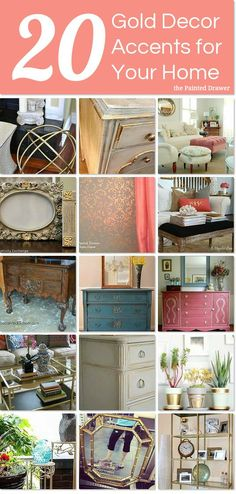 Gold is the latest trend in decorating ~ here are 20 DIY gold decor accents for your home