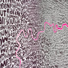 Detail of Greater London Map - limited edition screen print by Ursula Hitz Greater London Map, Unusual Presents, Art For Sale Online, Brand Identity Design, Ursula, Screen Printing, Neon Signs, Graffiti, Type