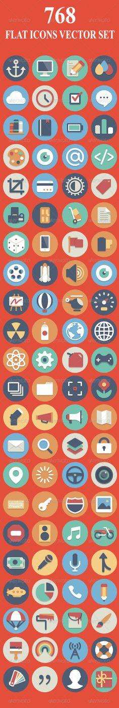768 Flat Icons Set