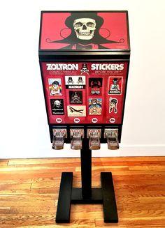 Zoltron Sticker Machine Retail Box, Hand Cast, Fancy Pants, Natural Disasters, Public Art, Painting Techniques, Hand Painted, Stickers, Sculpture