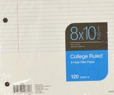 """Office 2040 STAPLES Filler Paper 8"""" x 10.5"""" College Ruled 17 x 120 Sheets 37427 #STAPLES"""